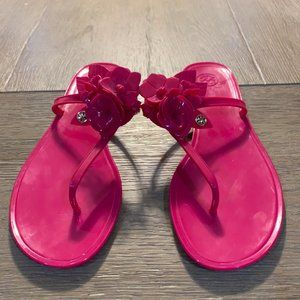 Tory Burch Blossom Jelly Thong Sandal- Pink- Sz 10